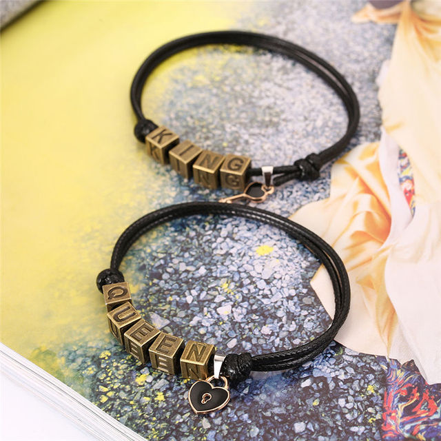 2 PCs/Set, Vintage Letters King Queen Bracelets Fashion Creative Paired Bracelets Key and Lock Couple Bracelet Gifts for Women