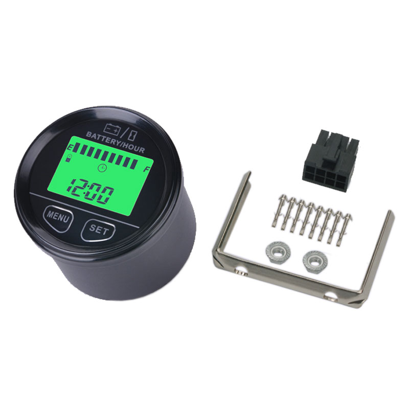 large LCD green backlight display Battery Gauge VOLT meter battery indicator with hour meter for ATV Tractor golf carts battery gauge battery agm gel volt meter battery indicator with hour meter for motorcycle atv tractor cleaning machine