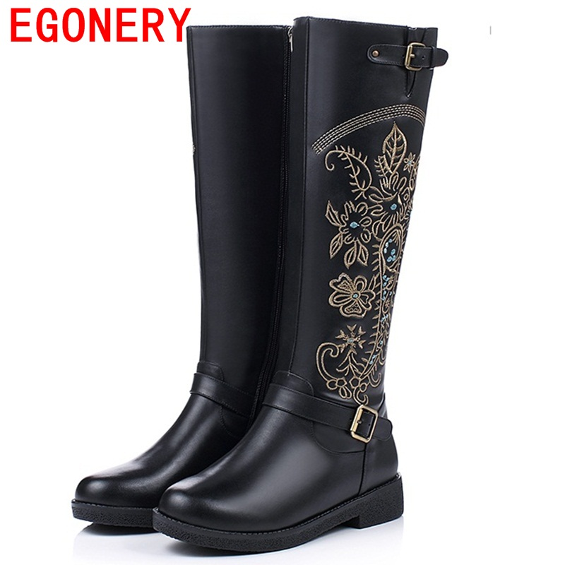 ФОТО EGONERY shoes 2017 women knee high boots national style round toe side zipper high quality fashion riding boots metal buckles