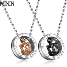 MINCN  Punk Stainless Steel Necklace Hip Hop Chain Cuban Brake black gold crown necklace pendant for men women