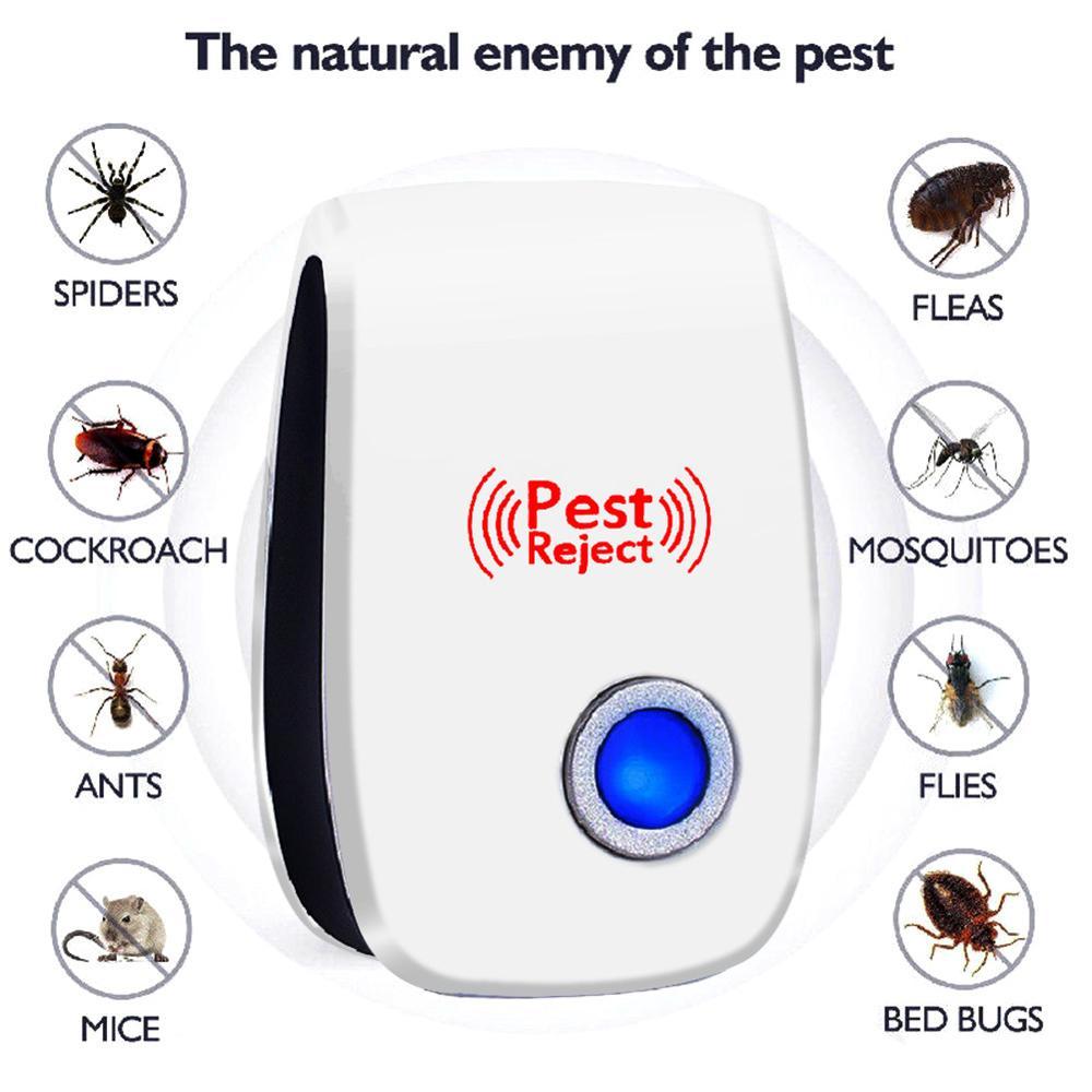 Repeledor ultrasónico de plagas, repelente electrónico antiroedores de insectos, repelente de mosquitos, ratones, cucarachas, ratones