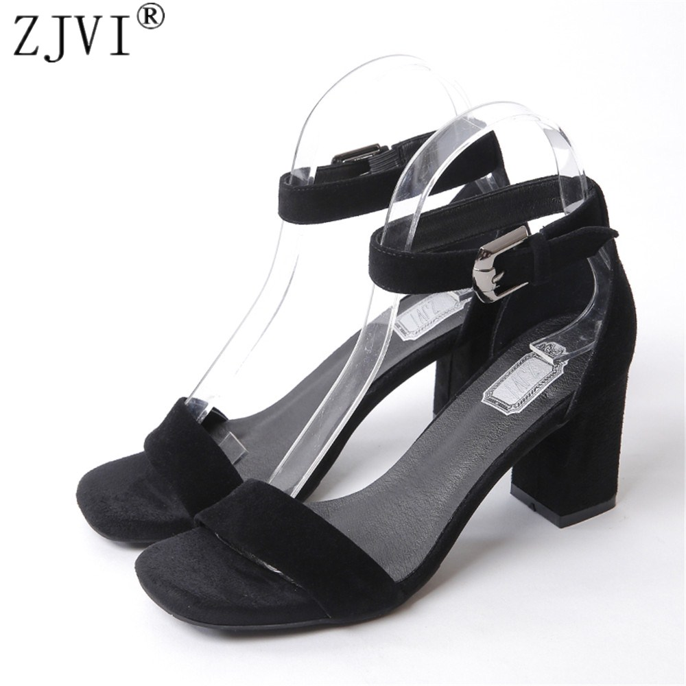 ZJVI woman 8cm thick high heels sandals women summer suede leather open toe shoes 2018 womens fashion ladies sexy nubuck sandal stylesowner women slides thick bottom falt sandals 2017 fashion suede leather crystal metal decor shoes woman cool sandal