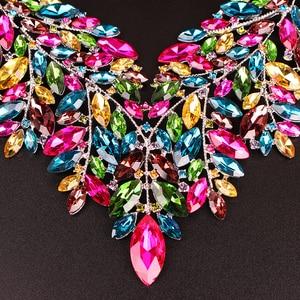 Image 5 - Luxe Big Crystal Verklaring Ketting Oorbellen Dubai Sieraden Sets Indian Bridal Wedding Party Vrouwen Mode Kostuum Sieraden