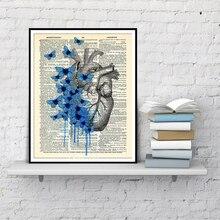 Corazón Anatomía Humana mariposa corazón anatómico impresión en la página del diccionario Vintage anatomía corazón pared decoración póster de corazón pintura