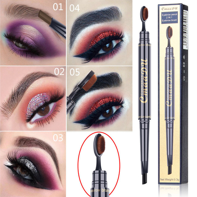2 IN 1 Eyebrow Maquiagem Profissional Completa Double-head Pencil for Eyes Durable Waterproof Not Flowering Easy To Color TSLM1 1