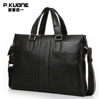 P KUONE Genuine Leather Briefcase Men Messenger Bags 2016 New Design High Quality Luxry Brand Handbag