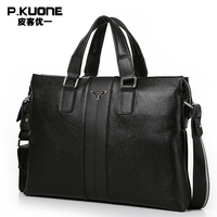 P KUONE Genuine Leather Briefcase Men Messenger Bags 2016 New Design High Quality Luxry Brand Handbag