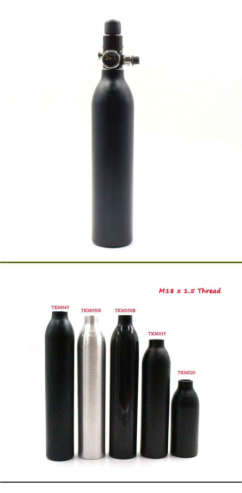 0.35L Air Aluminum Bottle 4500PSI Cyclinder For Paintball PCP M18*1.5 Thread US