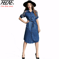 2017 Spring Summer Denim Dresses Casual Robe Vestidos Mujer Mid Long Embroidered Sashes Belt Slim Jean