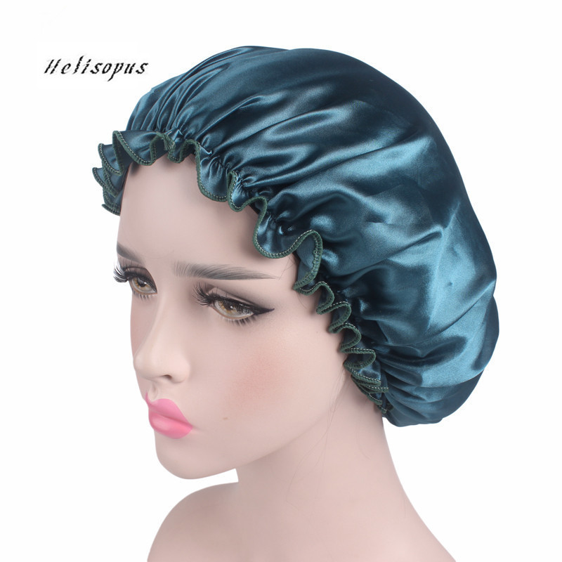 Helisopus New Women Satin Lace Cap Lady Hair Accessories Chemotherapy Cap Hat Ladies Casual Sleep Night Cap Turban Head Covers(China)