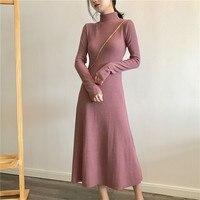 Nueva Vintage vestido de Las Mujeres de Cuello Alto Delgado Plantea Una Cintura Más Palabras Buenos Vestidos de Color Caqui Rosa Púrpura 6098