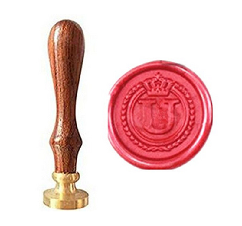 все цены на MDLG Vintage Alphabet Letter U Crown Wedding Invitations Gift Cards Wax Seal Stamp Stationary Sealing Wax Stamp Wood Handel Set онлайн