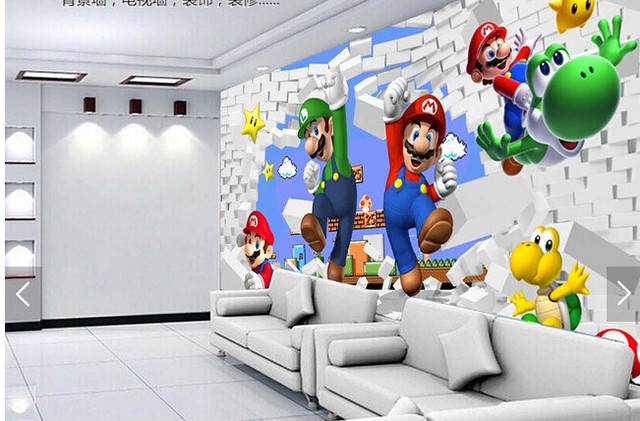 Super Mario Animation3D Modern Murals For Living Room Sofa Childrens Wall Vinyl Wallpaper