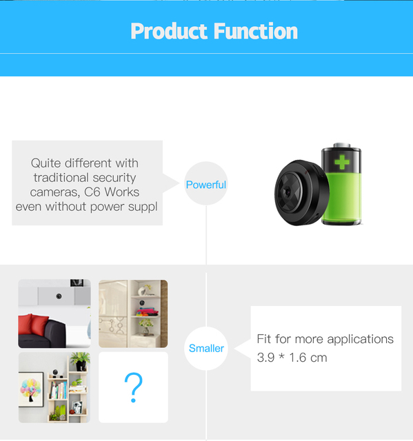 C6 Camsoy Cookycam Micro WIFI Mini Camera HD 720P With Smartphone App And Night Vision IP 3