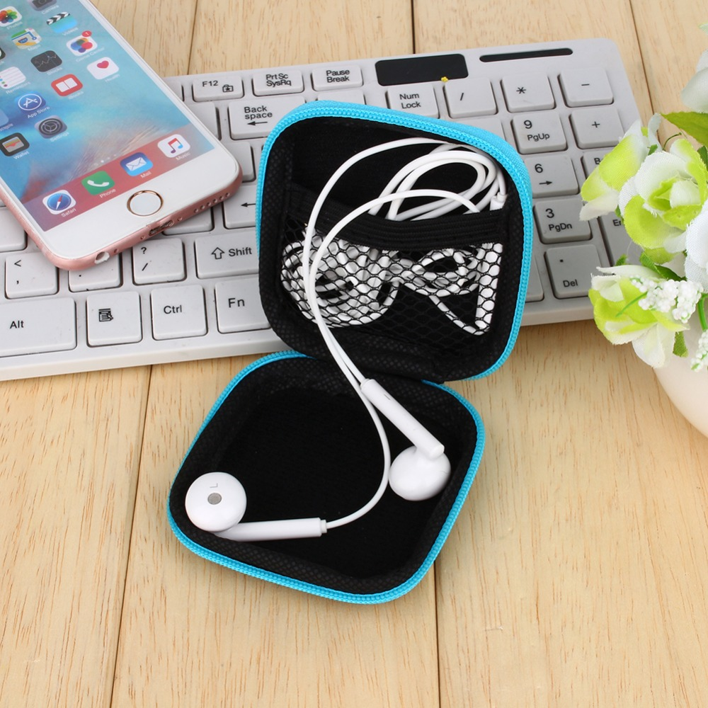 New Portable Mini PU Leather Zipper Headphone Case Earphone Bag Usb Cable Organizer Earbuds Pouch Box