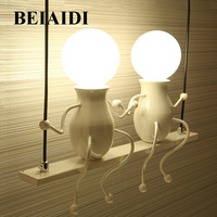 BEIAIDI Modern Cartoon Doll LED Wall Lamp Creative Mounted Iron Sconce Wall Light for Kids Baby Bedroom Corridor Wall Light