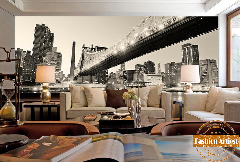 Custom vintage black & white wallpaper mural New York Manhattan bridge city night view tv sofa bedroom living room restaurant