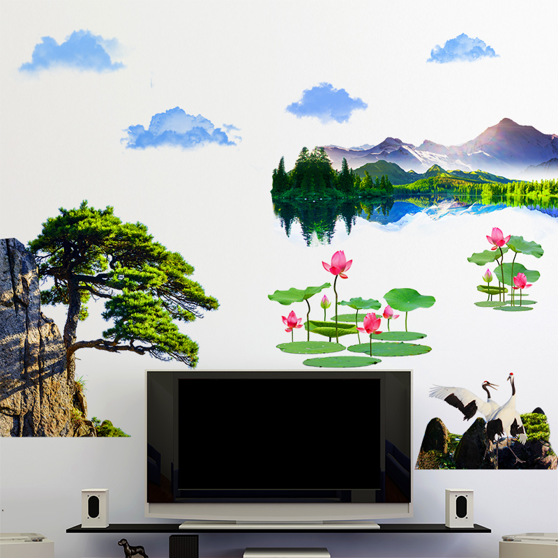 [SHIJUEHEZI] Chinese Style Rivers Mountains Wall Stickers PVC Material Tree Flower Mural Art for Living Room Bedroom Decoration