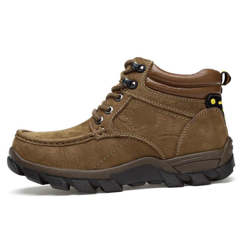 ROXDIA echt leer voor mannen enkellaars winter sneeuw warme cowboy waterdichte veiligheid mannelijke schoenen plus size 39-47 RXM052