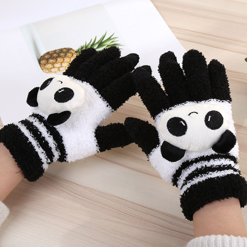 Winter Warm Riding Full Finger Gloves Ladies Touch Screen Cute Coral Velvet Panda Head Rabbit Head Gloves A68