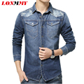 LONMMY M-5XL Long Sleeve jeans shirt men Denim Camouflage camisa masculina Cowboy men shirt Casual men clothes 2016 New arrival