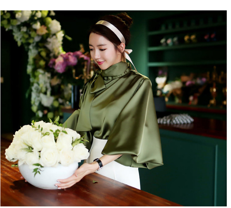 2019 Spring Women Blouse Korean Office Lady White Chiffon Long Lantern Sleeve Bow Shirt Casual Loose Stand Collar Blouse (6)