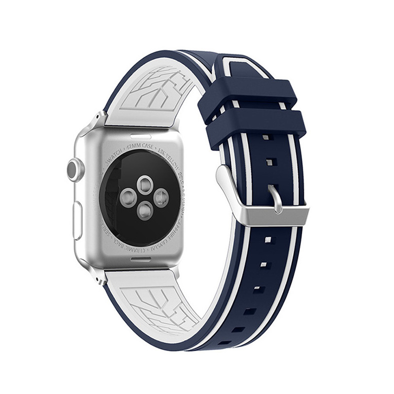 New Double Color Mixed Silicone Watch Band for Apple Watch Series 1/2 38/42mm Sports Strap Smart Watch Belt Replacement I218.
