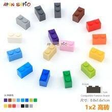 25 adet/grup DIY blokları yapı tuğlaları kalın 1X2 eğitim birimi inşaat oyuncakları çocuklar için lego ile uyumlu