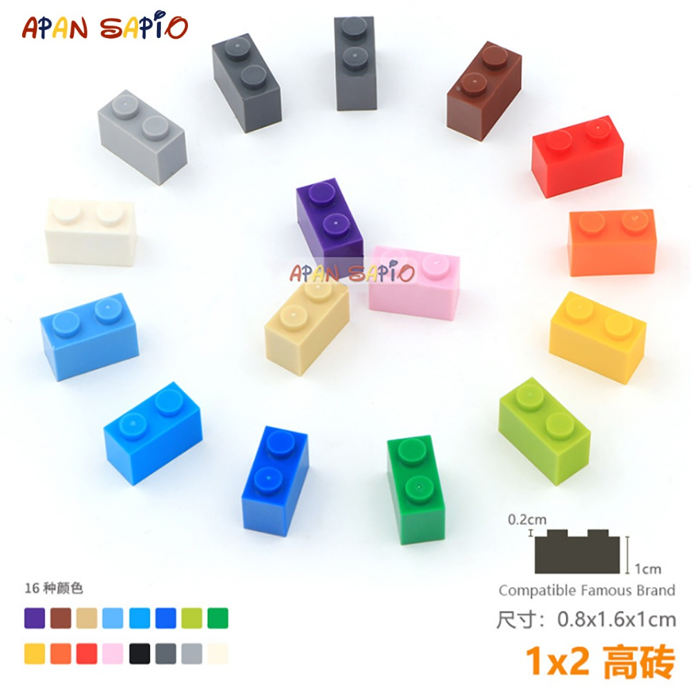 DIY Blocks Building Bricks Thick 1X2 25pcs/lot Educational Assemblage Construction Toys For Children Compatible With Brands