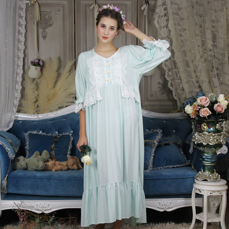 Summer Autumn Cotton Long Nightgowns White Lace Women's Sleepwear Half Sleeve Retro Solid Color Nightdress Home Dress  011