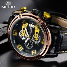 цена MEGIR Chronograph Men's Leather Sport Quartz Watch Men Montre Homme Fashion Casual Men Watches Military Analog Relogio Masculino онлайн в 2017 году