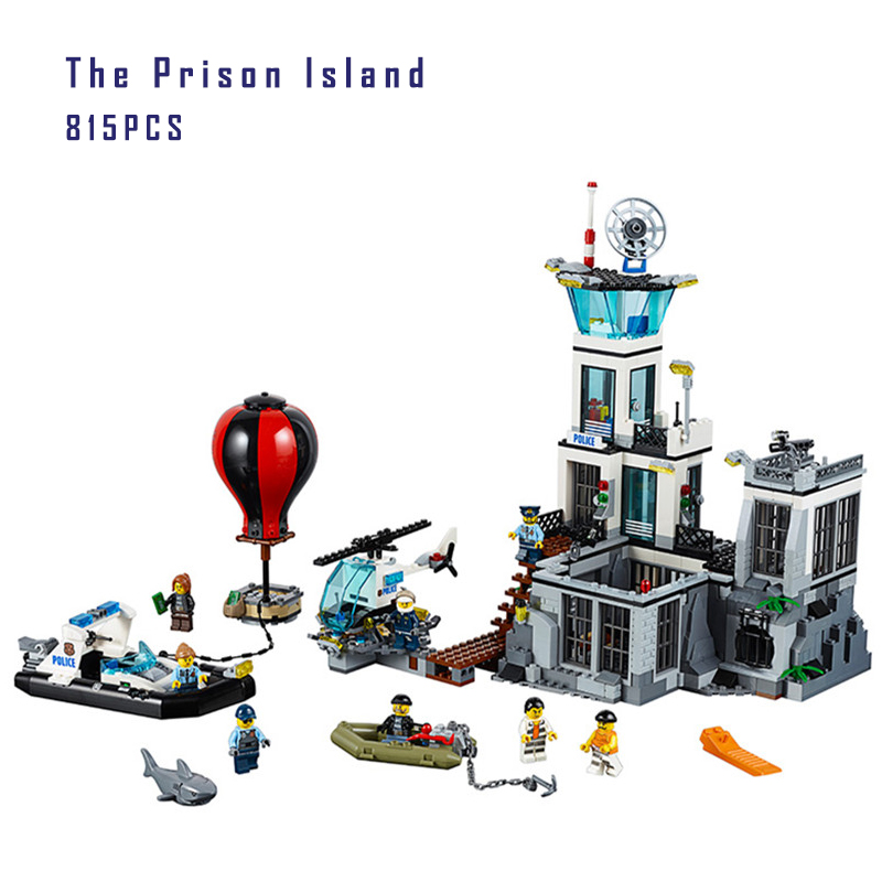 Lepin 02006 Models building toy 815pcs Building Blocks Compatible with lego 60130 City The Prison Island toys hobbies gift  lis lepin 02006 815pcs city series prison island set children educational building blocks bricks boy toys with 60130