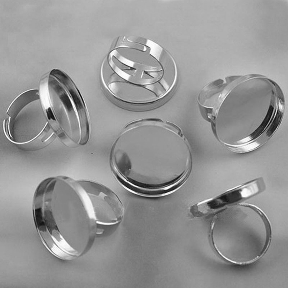 10pcs Fit 25mm Glass Cabochon Flat Base Adjustable Blank Finger Tray Round Pad Ring Settings in Jewelry Findings Components from Jewelry Accessories