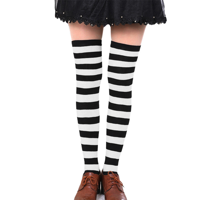 8f8dd4a3d Sexy Women Girl Striped Cotton Thigh High Stocking Over the Knee Socks  Fashion Stockings For Dating