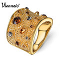 Viennois Wide Gold Plated Finger Rings for Woman Multicoloured Rhinestones Paved Cocktail Ring Size 6 7 8 9 for Female