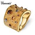 Viennois ampla banhado a ouro anéis de dedo para a mulher multicolor pedrinhas pavimentada anel de cocktail tamanho 6 7 8 9 para o sexo feminino