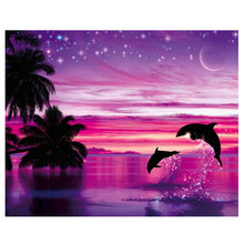 5D Diy Diamond painting dolphin Daimond Mosaic painting red landscape pictures of Rhinestones animal Diamant Embroidery scenery(China)