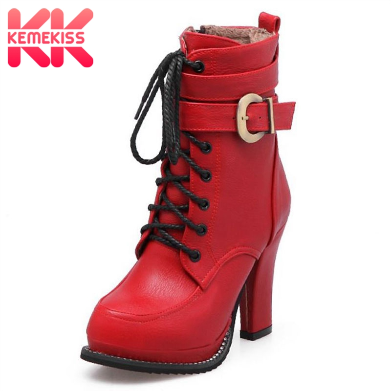 KemeKiss Women High Heel Boots Winter Warm Fur Shoes Women Crystal Lace Up Buckle Ankle Boots Fashion Shoes Footwear Size 33-43 samool 2017 new arrival women boots lace up martin boots women ankle fur boots brand winter women shoes female high heel shoes page 9