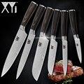 XYj juego de belleza venas cuchillos de cocina de 2 * Santoku cortar Chef Damasco las venas de madera de Color mango cuchillo de acero inoxidable