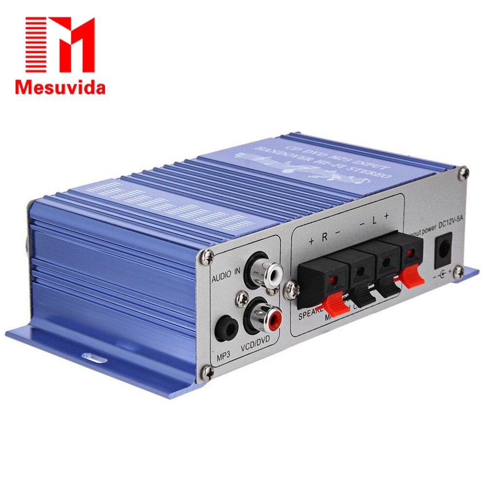 Mesuvida HY-2002 Hi-Fi 12 В Мини авто стерео усилитель 2CH аудио amplificador Поддержка CD DVD MP3 Вход для мотоцикла дома