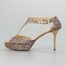 Frauen Mode Schuhe Sapatos Femininos Pailletten Sandalen Spool Thin High Heels Peep Toe Glitter Verziert T Schuhe Wrap ferse