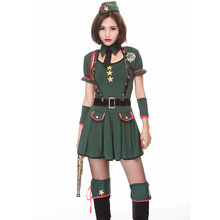 Umorden Halloween Purim Easter Costumes USA America Policewoman Navy Green Costume Cosplay Uniform Dresses for Women