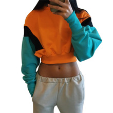 Oversized with hood For women with long sleeves BTS Cropped Hoodie Autumn-Winter sudadera Mujer moletom feminino