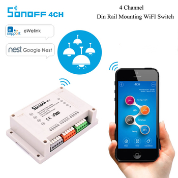 Sonoff 4CH - 4 Channel Din Rail Mounting WiFi Timer Switch 90~250V For Smart Home Appliance IOS Android Remote Turn ON or OFF home appliance