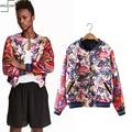 New Fashion Autumn Winter Bomber Jacket Women Print Zipper Padded Coat Female Casual Basic Coat aqueta feminina Short Jacket