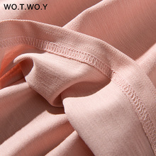 WOTWOY Long T-shirt Dresses Women Summer Sashes Waist Slit Casual O-Neck Short Sleeve Loose Ankle-Length Dress Woman Pink Cotton