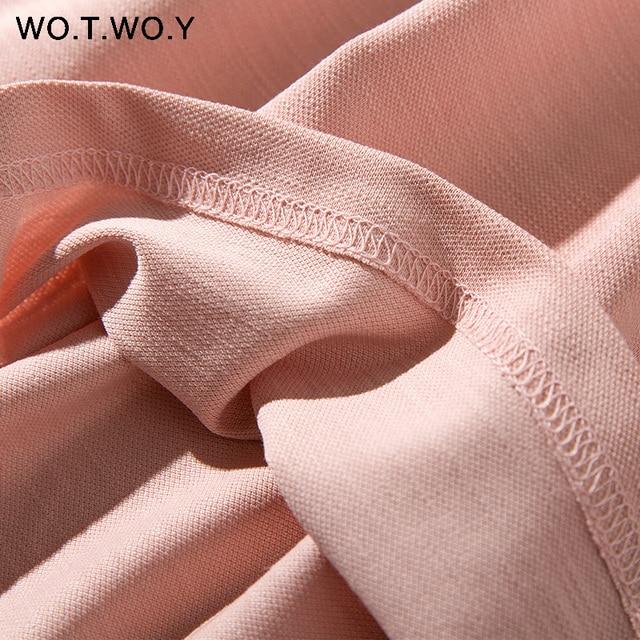 Long T-shirt Dresses Women Summer Sashes Waist Slit Casual O-Neck Short Sleeve Loose Ankle-Length Dress Woman Pink Cotton 3