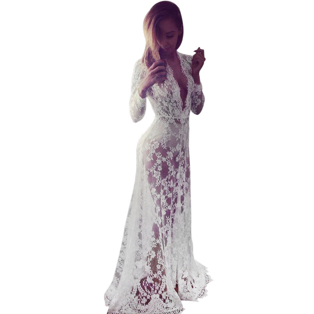 a43b08d820 Feitong Maxi Dress Women Dress soft Lace Chiffon Crochet summer dress  Vestidos Longos super quality Roupa Feminina 5