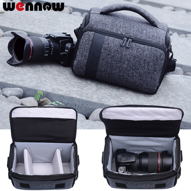 все цены на wennew DSLR Camera Bag Shoulder Case Waterproof Camera Backpack For Casio Canon Nikon Sony Olympus Panasonic w/ Rain Cover SLR онлайн