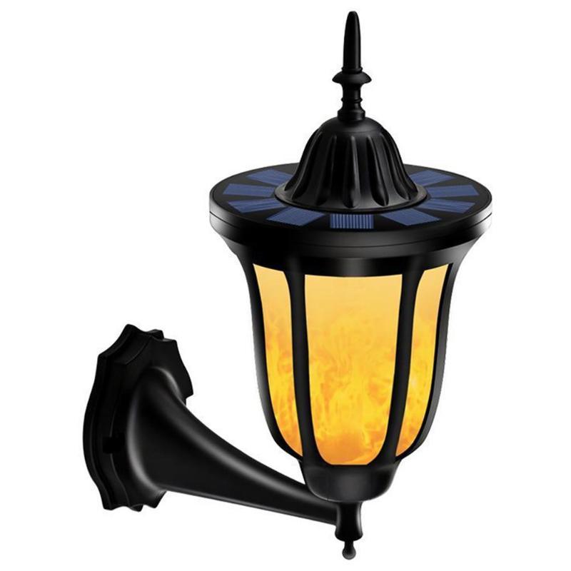 96LED солнечный свет стены ретро мерцающего пламя лампы наружного освещения украшения двери Сад Двор настенное крепление Солнечный лампа